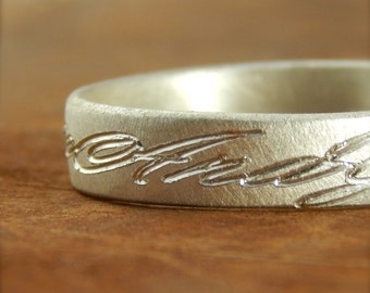 Personalized wedding band, engraved names  *Weathered Shiny finish* 5 mm sterling silver, simple wedding band, 1.5 mm thick.