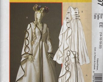 McCalls 4997 Misses Renaissance Dress Pattern Bell Sleeves Womens Costume Sewing  Size 14 16 18 20 Bust 36 38 40 42 OR 6 8 10 12 UNCUT