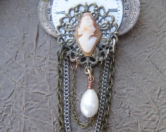 INDUSTRIAL Antique brooch PIN authentic cameo steampunk pocket watch vintage
