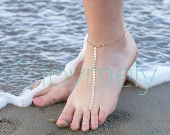LOVMELY GOLD draped Barefoot sandal /anklet- gold chain foot anklet / Bohemian foot chain/ boho / body jewelry / foot chain