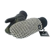 Black and white polka dots wool and black leather mittens