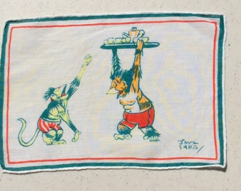 Vintage Textile Tony Sarg Drunken Monkeys Time to Sober Up