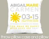 Birth announcement new baby gift custom sunshine yellow sunshine and gray throw pillow