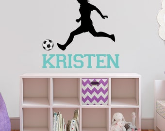 personalized soccer and name wall decals - high quality fabric vinyl decal - choose any colors you like repositionable wall decal