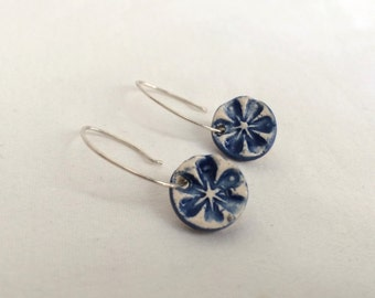 Sterling Silver and Ceramic Blue and white Dangle Earrings