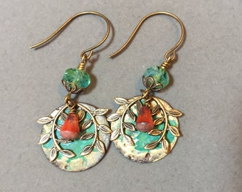 Swinging Branches Brass Stamping Earrings With Czech Beads