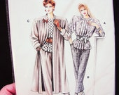 80s Pattern Womens Duster Coat, Blouse, Tapered Pants Vintage Sewing Pattern Misses size 10 12 14 16 18 20 UNCUT
