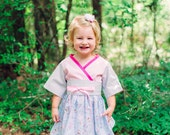Girls Pink Dress - Girls Easter Dress - Kimono Dress - Toddler Kimono - Girl Toddler Dress - Girls Birthday Dress -  Sz 2T to 8 Years