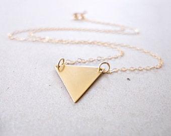 Triangle Necklace, Triangle Pendant Necklace, Layering Jewelry, Geometric Jewelry, Simple, Minimalist, 14k Gold Fill, Delicate Gold Jewelry