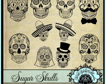 Dia De Les Muertos svg, Sugar Skull svg, Day of the Dead, Wedding Clipart, Digital Stamps ai,eps,svg PNG, and DXF