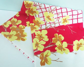 Vintage Forsythia Tablecloth, Flowers in Yellow, Tan and Light Brown, Deep Red Grid and Border, Spring Textile
