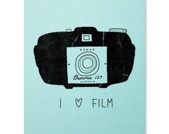 I Love Film Art Print / Photography Print / Camera Print / Kodak Wall Art / Polaroid Print / Home Decor / 8 x 10