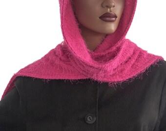 Pink Shag Hood Wrap Scarf Head Hoodie Wrap Handmade