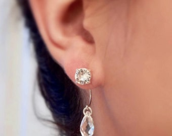 Clear crystal ear jacket earrings
