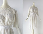 Edwardian Tea Dress / Bewitched / Embroidered White Dress / 1910s Dress / XXS