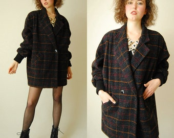 Oversized Plaid Coat Vintage 80s Buffalo Plaid Oversized Indie Boho Tapered Wool Coat  (s m l)