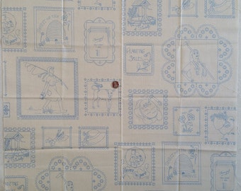 MS003 ~ Vintage fabric Sketched pictures Off-white Blue drawings Cotton