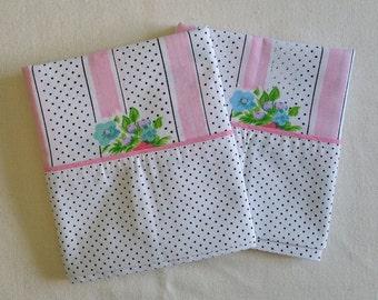 PC003 ~ Vintage pillowcases Pink stripes Black dots Floral set Shabby chic Cotton set