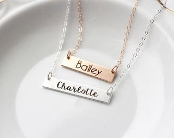 Children's Bar Necklace - Flower Girl Gift, Name Necklace Personalized Gift for Children, Gold Bar Necklace Name Necklace Child Necklace