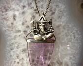 Amethyst Crystal  Silver Ganesha Energy Talisman Necklace