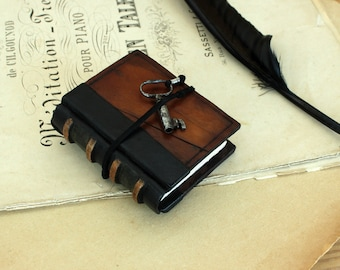 Miniature Book, Vintage Leather with Antique Key - The Little Book of Secrets