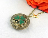 Irish Locket, Antique Gold, Gold Irish Locket, Golden Shamrock Locket, Brides Bridesmaids, Weddings,  Birthdays, Holiday Gift