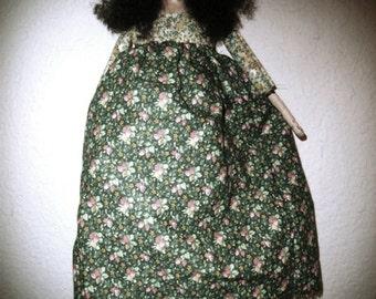 Folk Art Cloth and Clay Doll - Elizabeth