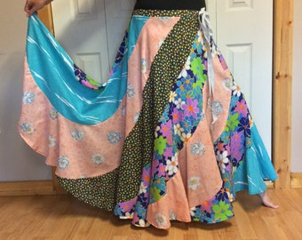 Long Maxi Plus Size Sweep Skirt with Pocket/Hippie/Gypsy/Bohemian/Festival/Floral/Colorful/Long Skirts for Women/Free Size/2X/3X/4X