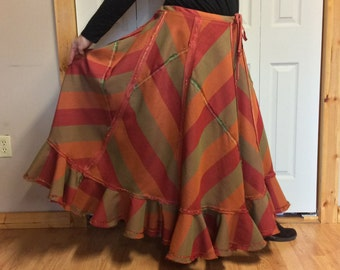 2XL Retro Striped Long Bohemian Skirt/Plus Size Hippie Skirt/Plus Size Maxi Skirt/Plus Size Long Skirt/Plus Size Festival Clothes/Gypsy