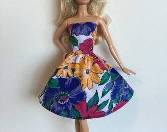 Handmade fits Barbie Clothes Strapless Dress Designs by P D Reneau (G113)