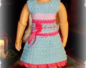 Turquoise/Fuchsia Crocheted Dress w/Matching Hat for Kidz 'n' Cats Dolls