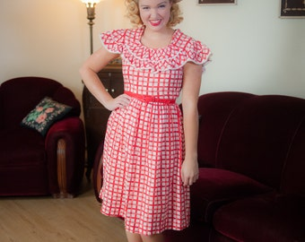 Vintage 1930s Dress - Cheerful Cherry Red and White Gingham Plaid Lightweight Cotto Seersucker 30s Day Dress with Ruffled Collar