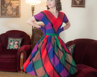 Vintage 1950s Dress - Striking Bold Plaid Cotton Day Dress in Rich Jewel Tones with Chevron Bodice and Pleated Skirt
