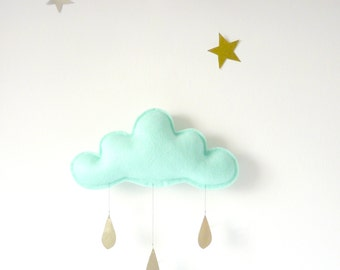 1 Mint Rain Cloud Mobile Nursery Children Decor- Spring  rain Cloud Mobiles for nursery by The Butter Flying