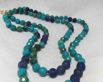 Long Faceted Turquoise, Lapis, and 18k Gold Filled Hand Knotted Necklace