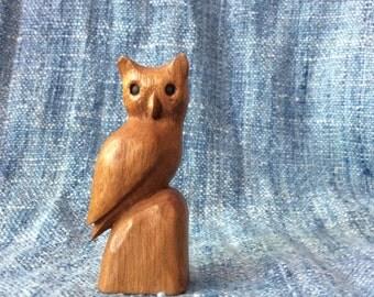 Handcarved Wooden Owl