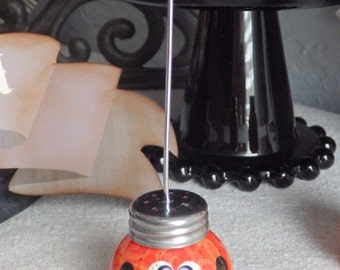 Photo Holder,Halloween Jack-O-Lantern Pumpkin with Lavender Eyes and A Toothy Smile, by Stacy Marie