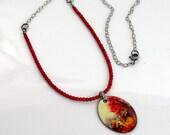 Copper Enamel Art Pendant, Big Red Tree, Autumn Colors Impressionism, Original Vitreous Enamel Jewelry, Nature Inspired, OOAK, Mail ready