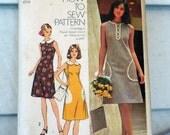 Simplicity 5514 - Adorable Easy-Sew Shift Dress & Purse - Vintage 1970s Pattern - Mod - Plus Size Curvy - Size 10 (Bust 42) - Cute - UNCUT