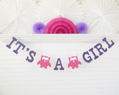 It's a Girl Owl Banner - 5 Inch Letters with Owls - Owl Baby Shower Decoration It's A Girl Banner Baby Banner Owl It's A Girl Baby Owl Sign