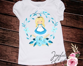 Alice in Wonderland Tee - Alice Outfit - Birthday Bodysuit - Princess Shirt - Alice in Wonderland Shirt - Newborn Bodysuit