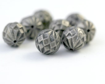 Vintage Faceted Round Antique Bronze Lucite Beads 14mm (8)