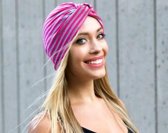 Turban Hat Pink And Gray Stripes Turban Twist Hat Chemo Turban Beach Turban Hair Covering Hijab Soft Turban Hat