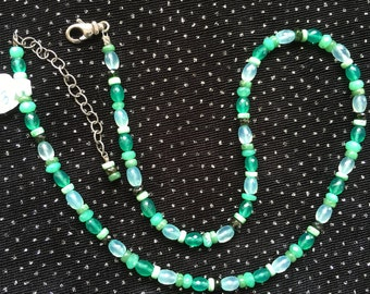 Chrysoprase, Green Onyx, Chalcedony, and Veracite Necklace  N103