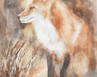 art print woodland nursery Fox painting of Fox art PRINT of fox print fox watercolour painting fox nursery art print fox baby fox