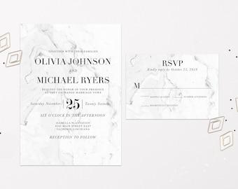 Marble Wedding Invitations Marble Wedding Suite Elegant Black and White Marble Wedding