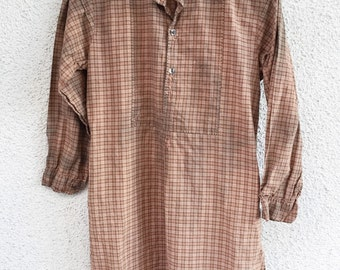 Vintage 40s french cotton tunic shirt