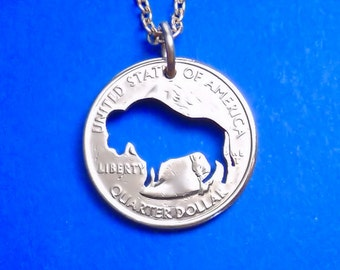 Bison Necklace, Bison Pendant, Buffalo Necklace, Spirit Animal, Bison Keychain, Key Chain, Buffalo Jewelry, Your Choice, Cut Coin
