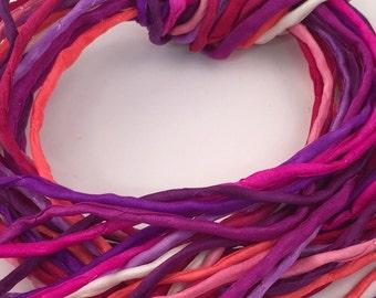 Hand Painted Silk Cord - Hand Dyed Silk - Silk Ribbon - Jewelry Supplies - Wrap Bracelet - Craft Supplies - 2mm Silk Cord Item No.354