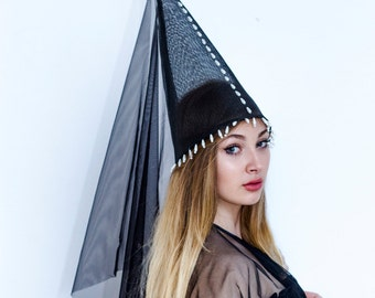 Hat - gothic hennin, Inspired by the late Middle Ages.